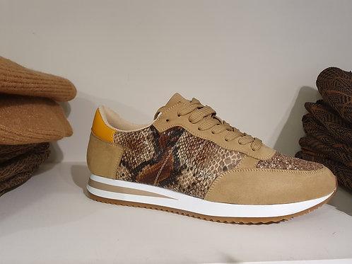 Sneaker beige croco geel met veters Moow