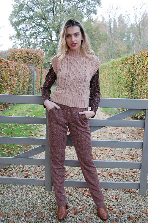 Broek in stretch met visgraat motief own label M'bleem