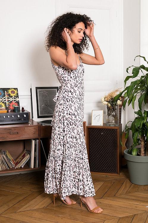 Lange bohemian jurk met zwart roze print Last Queen