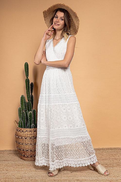 Lange kanten bohemian jurk in wit