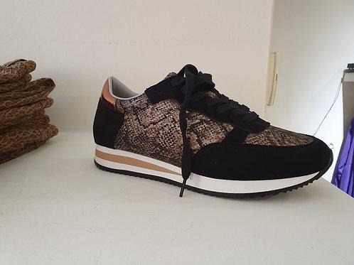 Sneaker zwart croco goud Moow