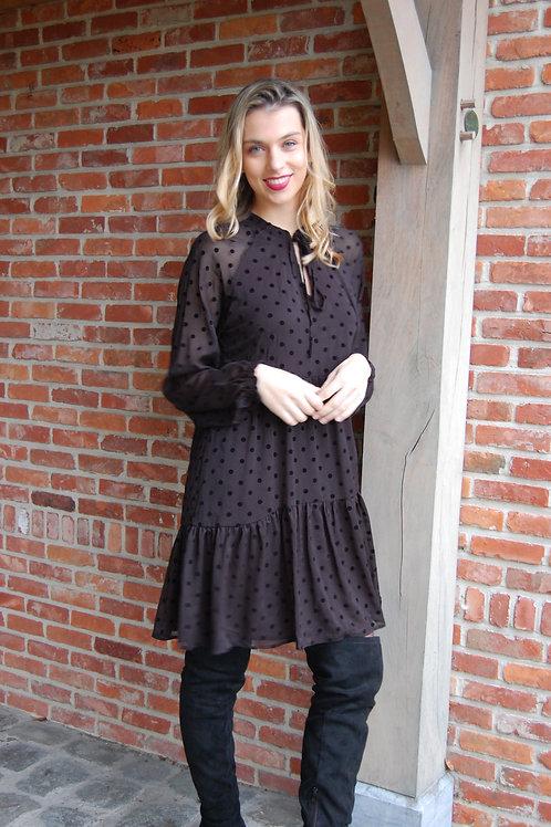 Zwarte korte jurk in voile met motief merk Esqualo