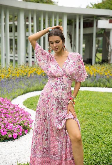 last-queen-robe-longue-boutonnee-cintree-a-la-taille-a-imprime-boheme-avec-col-v6-fuchsia-