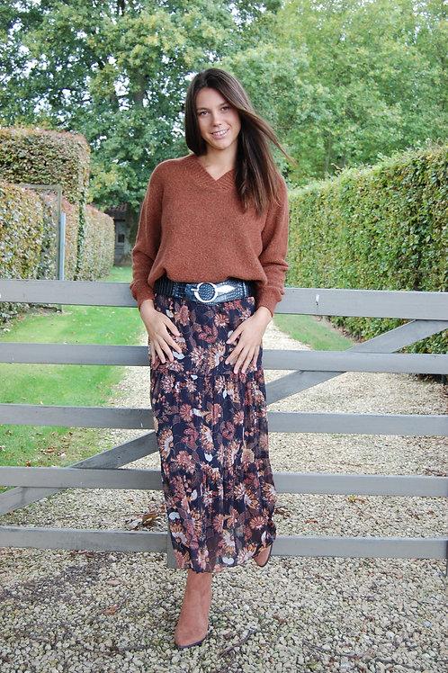 Lange rok met bloemenprint zwart/camel comme ça