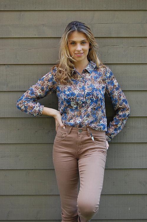 Hemdsbloes met blauwe bloemenprint Comme ça