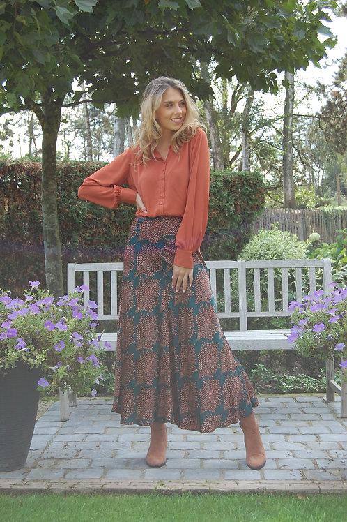 Lange rok met groene en roestbruine print Esqualo