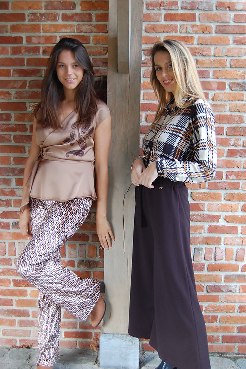 Broek in velours met print in beige met camel en zwart Esqualo flair model