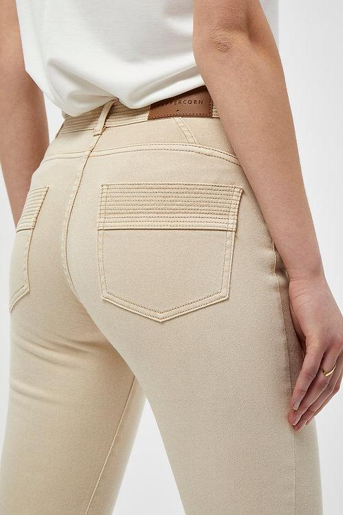 Broek jeans model in cotton denim beige of donker grijs Peppercorn