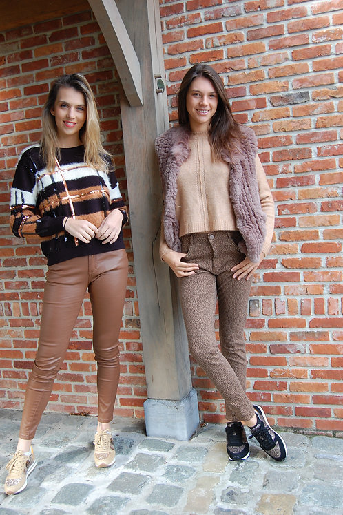 Fake leather broek camel Zac&Zoe