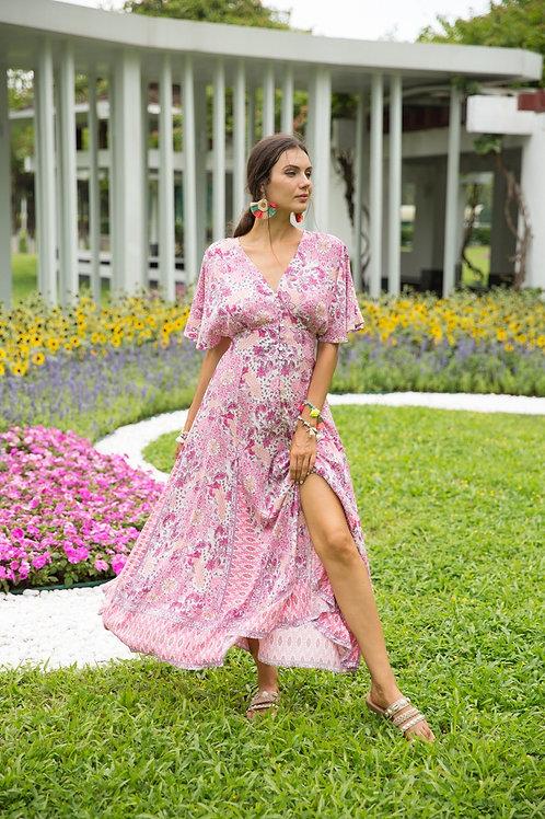 Lange rode bohemian jurk Last Queen