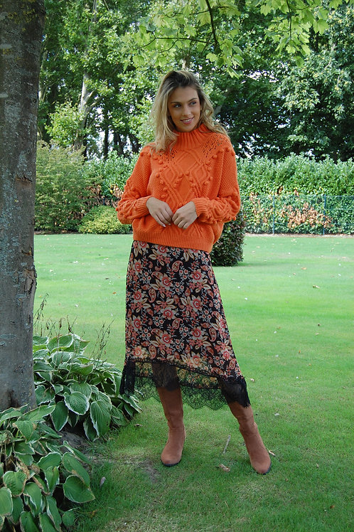 Rok in oranje met bloemenprint en boord in kant Esqualo