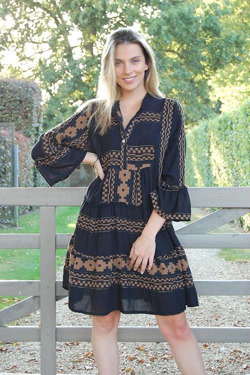 Korte jurk los model met print zwart/camel