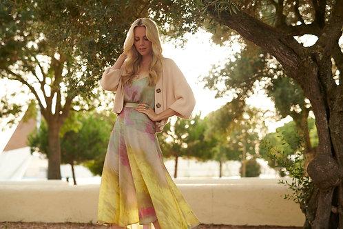 Lange rok met satijn look en veelkleurige print in geel Esqualo