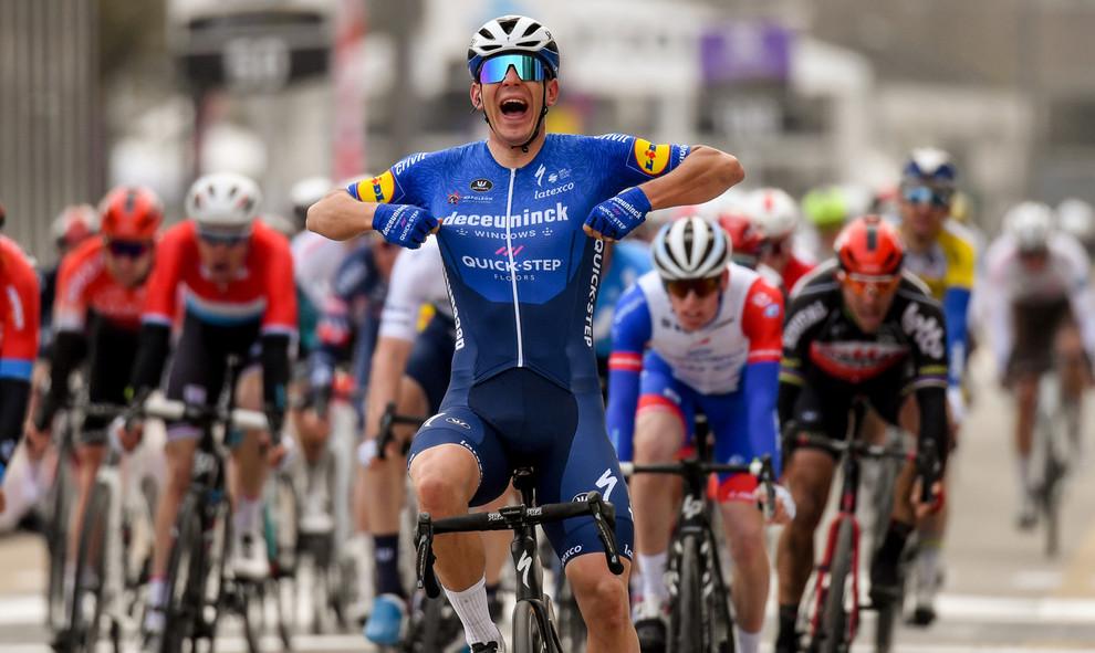 Davide Ballerini (I/Deceuninck-Quick Step) celebrates his victory at the Omloop Het Nieuwsblad 2021.