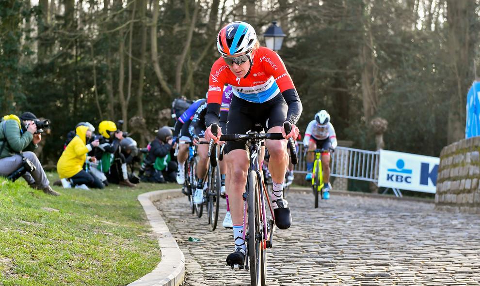 Christine Majerus (L/SD Worx) at the Omloop Het Nieuwsblad 2021.