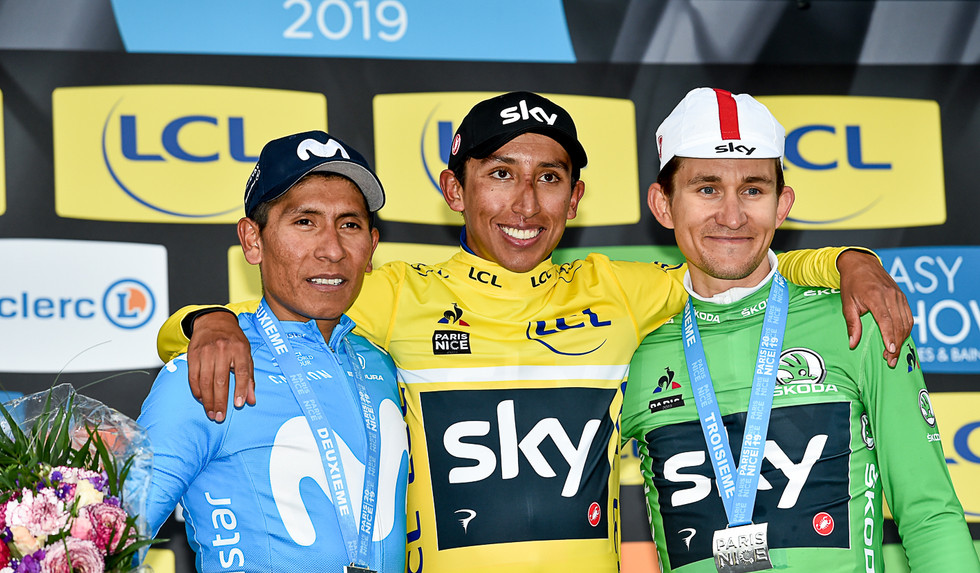 The final podium of Paris-Nice 2019: Nairo Quintana (COL), Egon Bernal (COL) and Michal Kwiatkowski (PL).