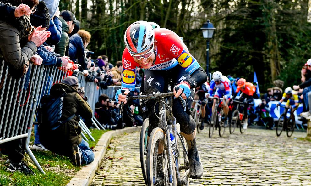 Bob Jungels (L/Deceuninck) at the Muur of Geraardsbergen during the Omloop Het Nieuwsblad.