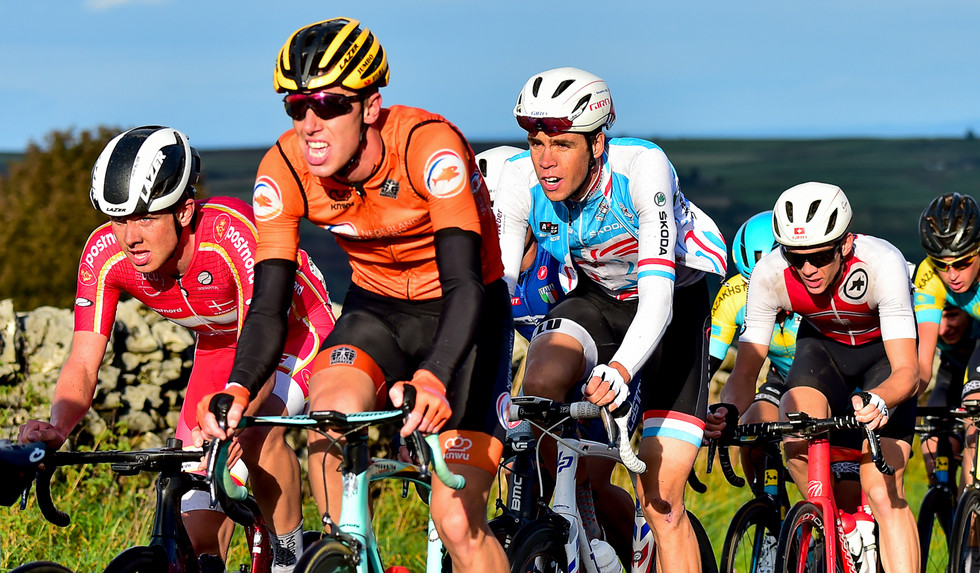 Kevin Geniets (L) during the Men U23 roadrace at the 2019 Road World Championships in Yorkshire.