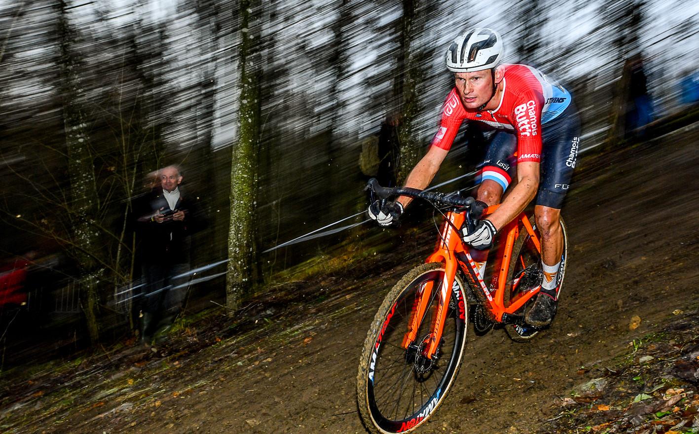 National CX-Champion Soeren Nissen (L) at the Cyclocross-Race in Cessange (L)