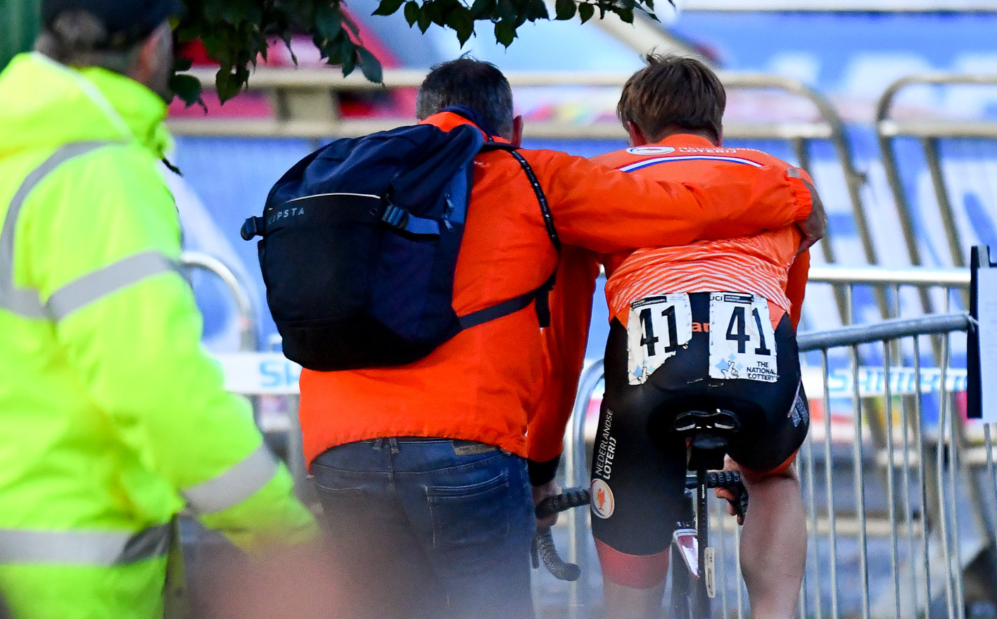 Nils Eeekhoff (NL) leaves the podiumarea after his disqualification at the 2019 Road World Championships.
