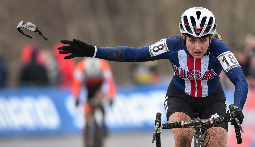 Ellen Noble (USA) at the UCI-Cyclo-Cross World Championships in Bieles (Luxembourg) in 2017