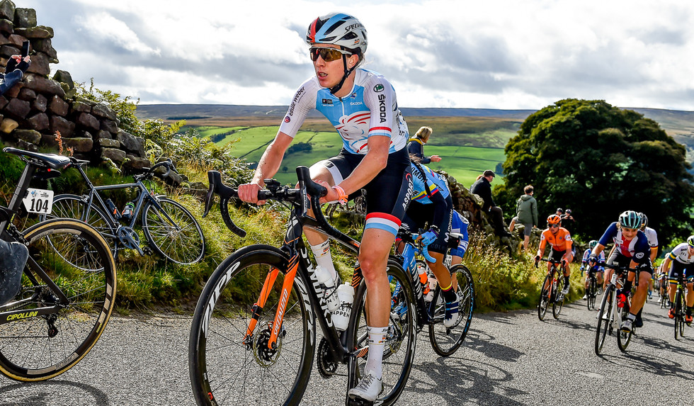 Christine Majerus (L) at the 2019 Road World Championships in Yorkshire.