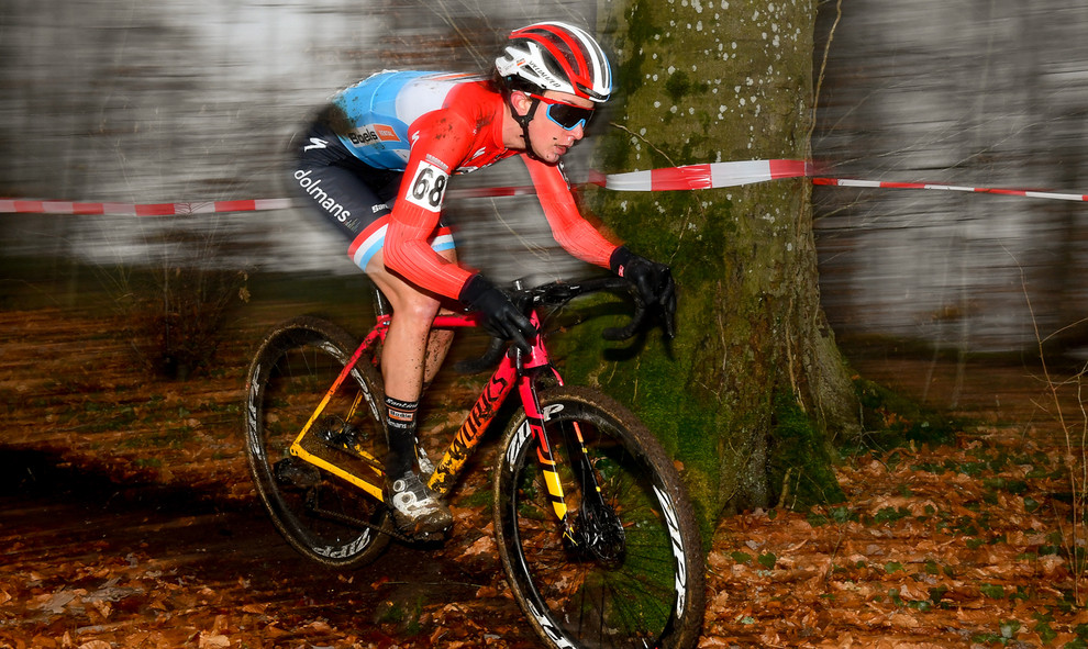 Christine Majerus (L) at the New Years cyclocross in Pétange.