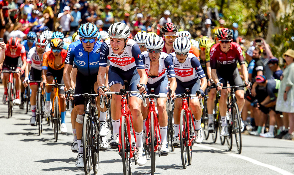 Michel Ries (L/Trek) leads the peloton during the last stage of the Santos Tour Down Under 2020.