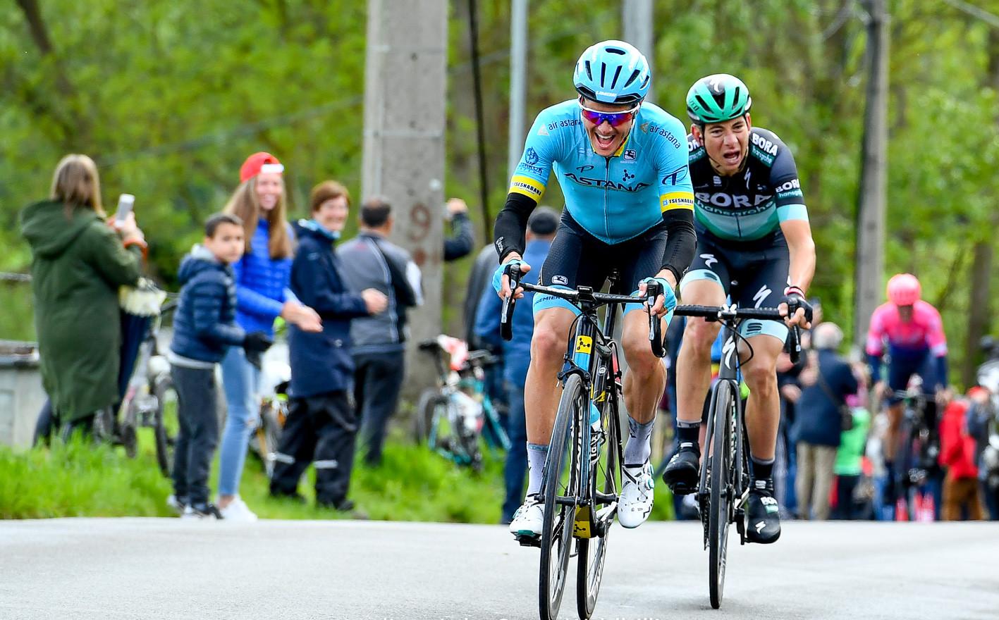 Jakob Fuglsang (DK/Astana) and Davide Formolo (I/Bora) at the climb of La Roche en Faucons at Liège-Bastogne-Liège 2019.