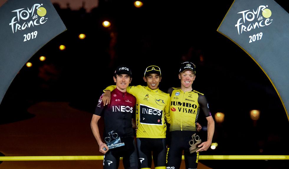 Egan Bernal (COL/Ineos) wins the Tour de France 2019 ahead of his teammate Geraint Thomas (GB) and Steven Kruijswijk (NL/Jumbo).