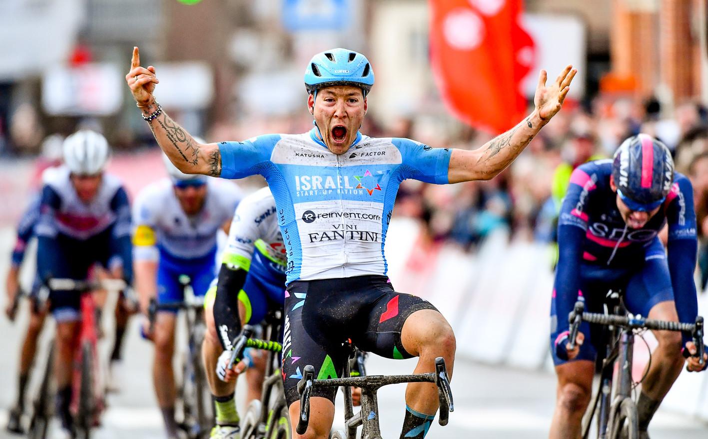 Hugo Hofstetter (F/Israel) celebrates his victory at Le Samyn 2020.