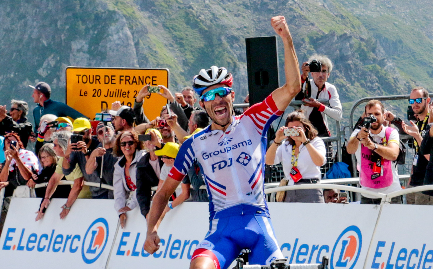 Thibaut Pinot (F/Groupama) celebrates his victory on top of the Tourmalet on stage 14 of the Tour de France 2019.
