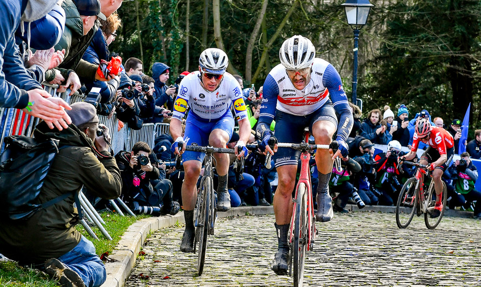 Jasper Stuyven (B/Trek) in front of Yves Lampaert (B/Deceuninck) on their way to finish at the Omloop Het Nieuwsblad 2020.