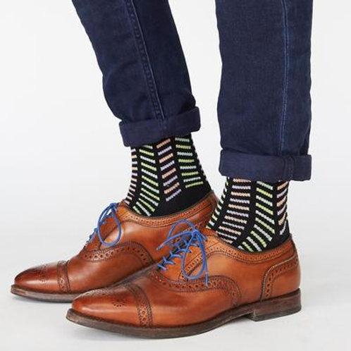 Black Multi Color Stripped Socks
