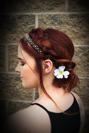 auburn prom hair braid