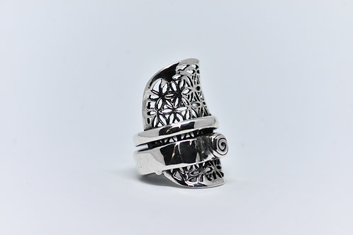 FLOWER OF LIFE & SPIRAL Ring
