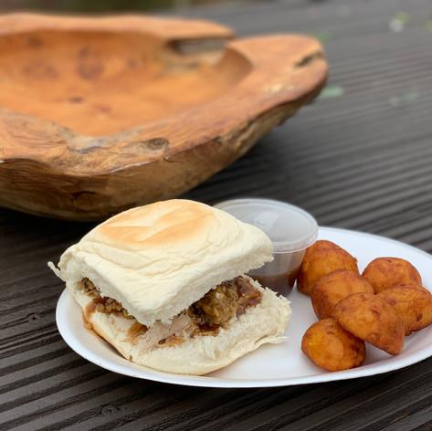Hog Roast Sandwich with goose fat roast potatoes