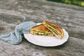 Vegan, Gluten Free Pesto Grilled Cheese
