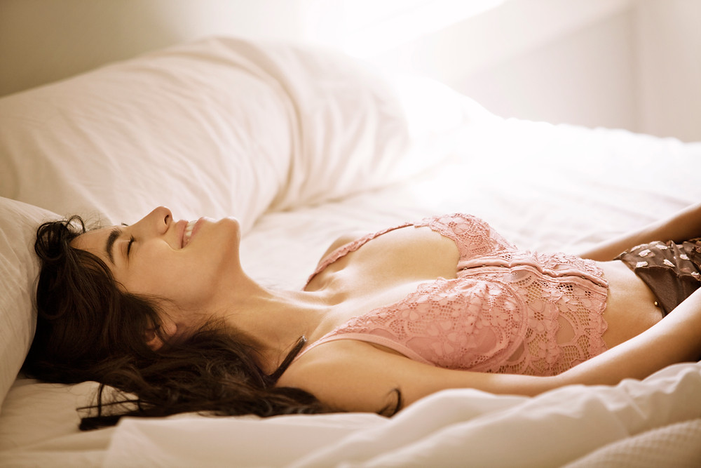 Woman, happy, bed, smile, rested, bedroom, sheets, pillows, sexy, under garments