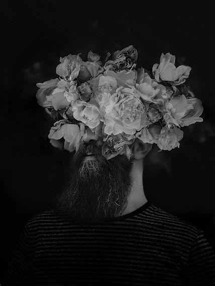 men portrait flowers conceptual Ximeh photography Berlin