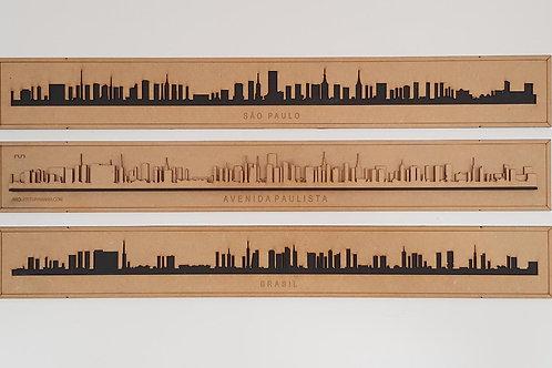Quadros Skyline da Avenida Paulista em madeira