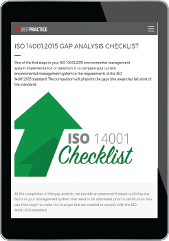 ISO14001 Gap Analysis Checklist link to Best Practice Training Academy