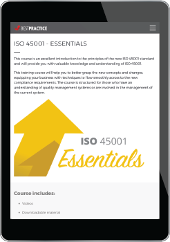 Tablet with ISO 45001 Essentials Course link to Best Practice Training Academy