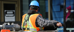 Safety personnel with hard hat and vest