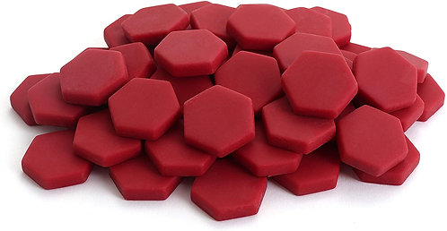 Hexagon Mosaic Tile Pieces - Raspberry - Matte - Front View