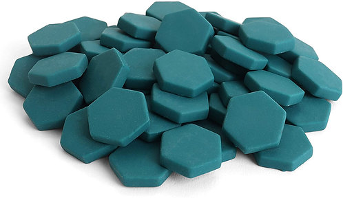 Hexagon Mosaic Tile Pieces - Caribbean Current - Matte - Front View