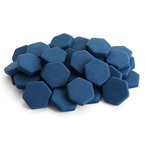 Hexagon Mosaic Tile Pieces - Blueberry - Matte -  Front View