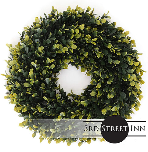 Golden Boxwood Wreath Front View