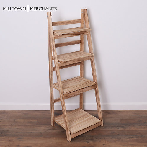 Milltown Merchants Ladder Bookshelf - Driftwood Front View