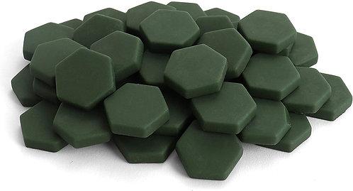 Hexagon Mosaic Tile Pieces - Cedar Green - Matte - Front View